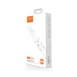 Incarcator Priza Recci cu cablu Type C alb lightning, Incarcator Priza Recci cu cablu Lightning (iPhone) alb