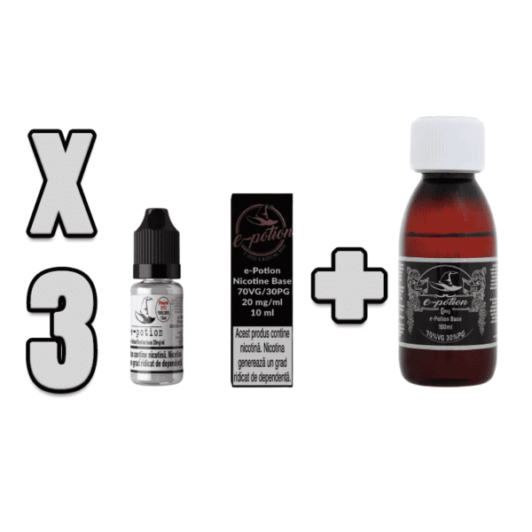 Pachet Baza e-Potion 70VG 30PG 100ml + 3 Shot Nicotina