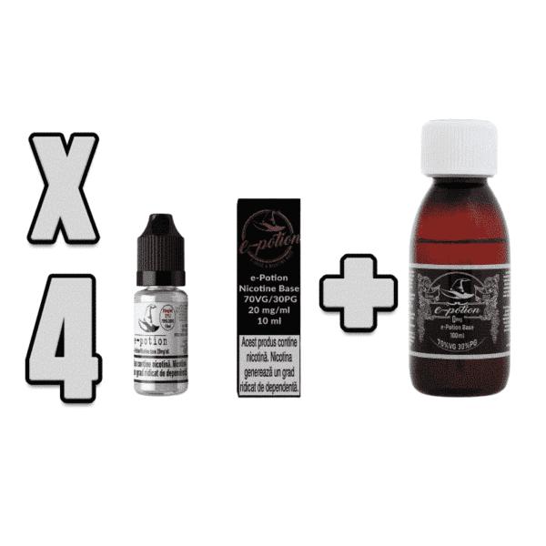 Pachet Baza e-Potion 70VG 30PG 100ml + 4 Shot Nicotina
